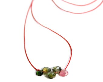 Watermelon Tourmaline Necklace/Silk Cord Necklace/Tourmaline/Cord Jewelry/Spring Jewelry/Tourmaline Pendant/Handmade Jewelry/Gift for Her