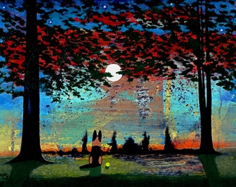 German Shepherd Dog LARGE art Print of Todd Young painting MOON RISE