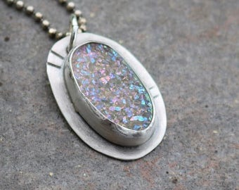 25% Off - Druzy Agate Sterling Silver Necklace
