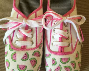 Watermelon decorated shoes, sneakers,, size 8, women, ladies