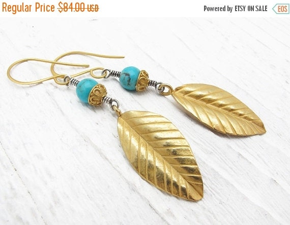 boho earrings, turquoise earrings, boho jewelry, gift under 100,  bohemian earrings, leaf earrings, December birthstone, tribal earrings,