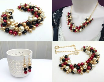 Black Ivory Gold and Red Jewelry Set, Matching Pearl Set, Pearl Beaded Jewelry, Bridesmaids Winter Wedding Theme, Everyday Chunky Jewelry