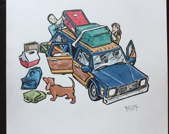 Packing for a Roadtrip original ink and watercolor painting