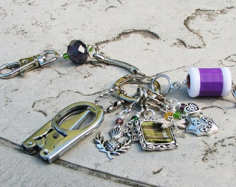 Knitter's Chatelaine - Outlander Inspired Non-Snag Stitch Markers, Row Counter and Scissors
