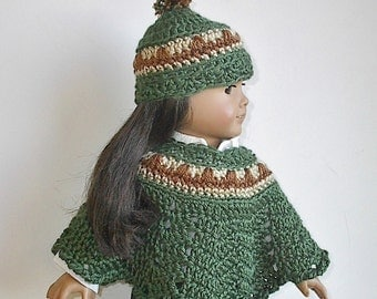 "18 Inch Doll Clothes Crocheted Poncho and Hat Set in Sage Green with Tan and Brown Handmade to Fit the American Girl and Other 18"" Dolls"