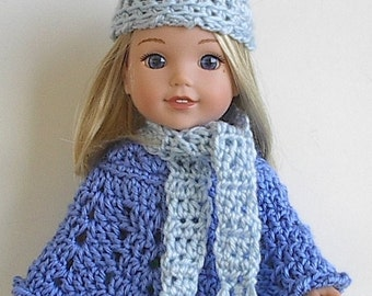 """14.5"""" Blue Poncho Hat and Scarf Set Handmade and Crocheted to fit the Wellie Wishers and other similar 14"""" dolls"""