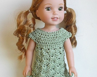 "14.5"" Doll Clothes Crocheted Sage Green Dress Handmade to fit the Wellie Wishers doll and other similar dolls - Sage Green Dress"