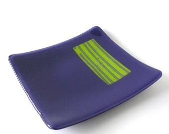 "Deep Indigo Modern Dish - Reactive Glass - 8"" Square - Deep Cobalt Blue and Spring Green Reactive Insert - Fused Glass Home Decor"
