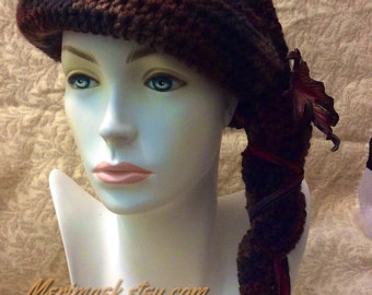 Dark Autumn Maple Cloche Crocheted Slouch Hat... knit yarn tied soft scarf cap bohemian boho