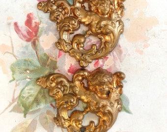2 Vintage Cherub Brass Stamping Large