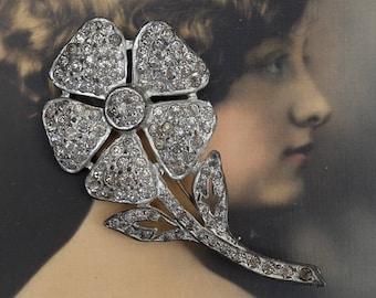 Vintage Pin Brooch Pot Metal and Rhinestones Flower