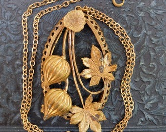 Large Vintage Brass Pendant with Chain