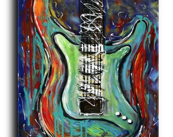Gallery Canvas and Fine Art Prints Stratocaster Guitar Painting Abstract Modern Contemporary Musical Instrumental Elena
