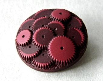 "Vintage 1930's Celluloid ""Gears"" Button"