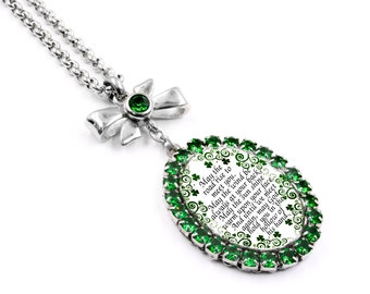Irish Necklace with Irish blessing in Green Crystals, St. Patricks Day Necklace, Celtic Necklace