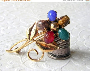 20% SALE Vintage Scarab Brooch RONCI 18K Gold Filled 5 Carved Gemstone Tiger Eye Chalcedony Carnelian Jasper Jade Costume Jewelry Egyptian R