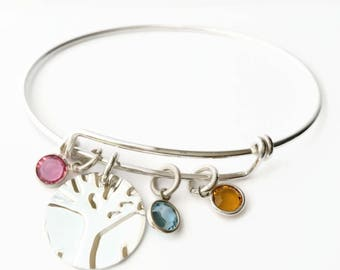 Custom Listing for Family Tree Bangle with 6 Birthstones