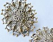 November Sale - Two Large Brass Filigree Silver Ox Stampings  - Made in the USA (4-9-2)