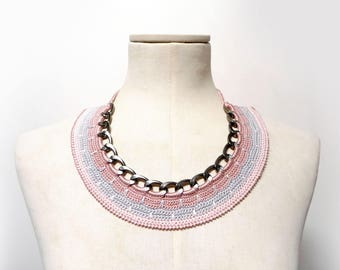 Crochet Cotton and Chain Necklace Choker - Pink Statement Necklace - Gunmetal chain with pink and grey cotton