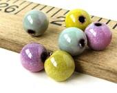 Raspberry Enameled Copper 8mm Round Beads