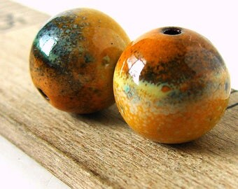 Orange Enamel Round Copper Beads