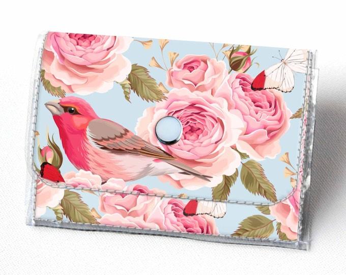 Vinyl Accordion Wallet - Vintage Roses 1 / floral, bird, small wallet, snap, cute, card case, vinyl wallet, women's wallet, polka dot, blue