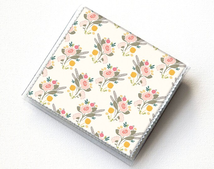 Vinyl Moo Square Card Holder - Flora Bouquets / case, vinyl, snap, wallet, mini card case, moo case, square, floral, flowers, small, vegan