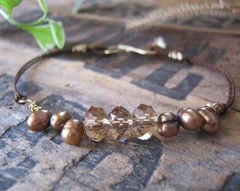 Swarovski Smoked Topaz Crystal and Freshwater Pearl Stackable Bracelet