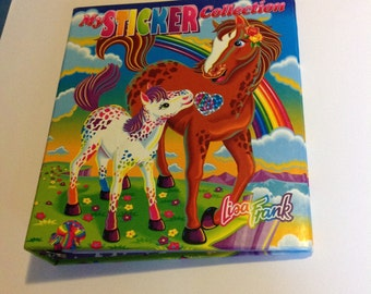 Vintage Lisa Frank My Sticker Collection 3 Ring Binder Horses Rainbow Chaser