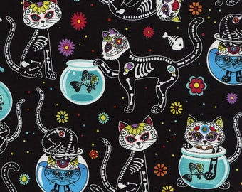 Timeless Treasures,  Cat Skeletons & Fishbowls, Day of the Dead Kitty Fabric on black,  1 yard