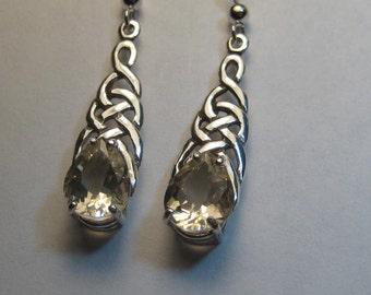 Natural Oregon Sunstone  Celtic   earrings ...... Sterling Silver ......        e978