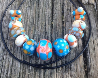 Set of Artisan Handmade Glass Beads For Jewelry Design in Coral Turquoise and Ivory