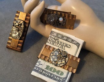 Vintage Steampunk Watch Part Money Clips, THREE (3), Wholesale Lot, Vintage Money Clip, Lot # MCB