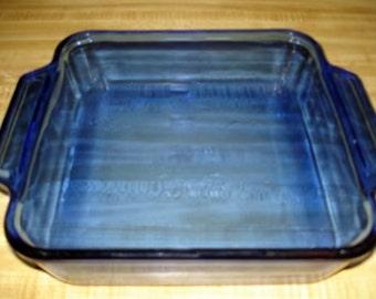 """Vintage Anchor Ovenware Cobalt Blue Square Baking Dish 8x8x2.25"""" 2 QT"""