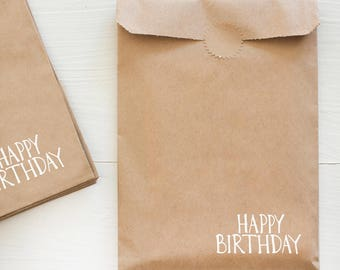 kraft paper bag with white foil for gifts and treats - happy birthday