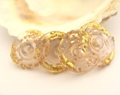 4 Golden Pink Disc Beads Handmade Lampwork