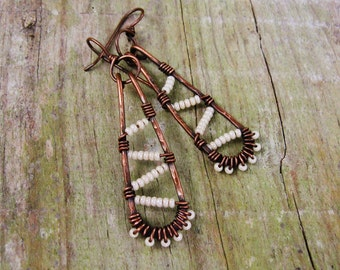 Seed Bead wire wrapped dangle earrings in antiqued copper with cream pearl seed beads