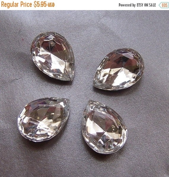 ON SALE 18% off Sparkling 18x13mm Pear Crystal Glass Faceted Gems 4 Pcs