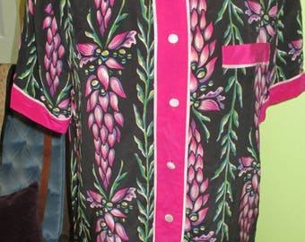 Colorful Bob Mackie Floral Silk Blouse