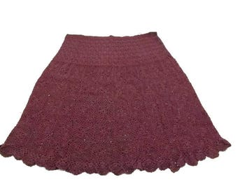 Plus Size Crocheted Knee Skirt Hand Dyed Blackberry