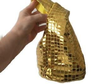 Gold evening bag, holiday party bag, Japanese knot bag, bling gold purse, formal evening bag, gold bling knot bag