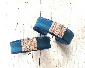 Deep Teal Silk Charmeuse Adjustable Cuff with Rhinestones
