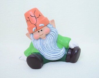 Garden Gnome - Garden Gnome - Yard Art - Gnome with a flower pot hat - Gift for Gardener - Ceramic Gnome - Gnome Figurine - Sitting Gnome