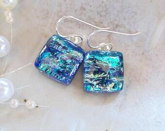 Blue Earrings, Aqua, Dichroic Earrings, Glass, Fused Jewelry, Petite, Dangle, Sterling Silver, A9
