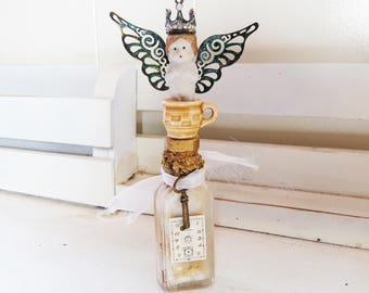 Tea Cup Fairy Bottle- Altered Bottle- Time for Tea Fairy Princess- Old Bottle, Penny Doll, Watch Face, Old key, Tea cup