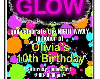 Glow in the dark party Invitations, Glow Birthday Party, Glow Party, Invites, Neon invitations, Blacklight,Cosmic Bowling,Rollerskating