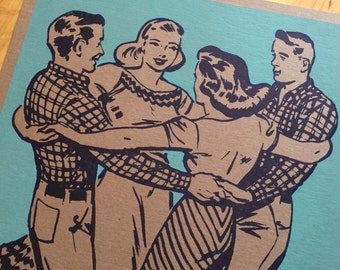 SQUARE DANCE Hands Around Basket turquoise Hand Printed Letterpress Poster