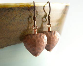 Hammered Copper Puff Heart Earrings with Hypoallergenic Ear Wires for Valentines Day with Free USA Shipping