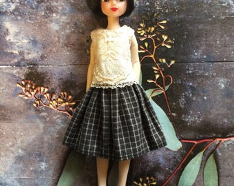 Skirt and blouse set for Ruruko and similar dolls - check skirt