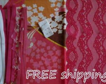 FREE Ship DIY Fabric + Notions Seventies Graphic & Pink Zigzag for 1 BRA + Panty by Merckwaerdigh